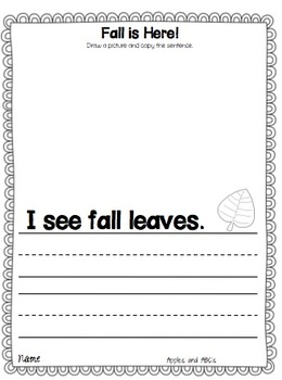 Fall Journal Entries for Primary