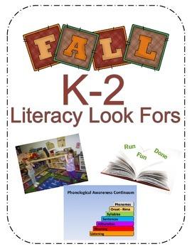 """Fall K-2 """" Literacy Look For"""" - Freebie"""