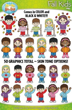Fall Kid Characters Clipart Set — Includes 50 Graphics!