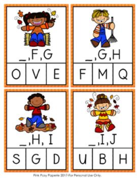 Fall Kids Alphabet Letter Sequencing Clip Cards