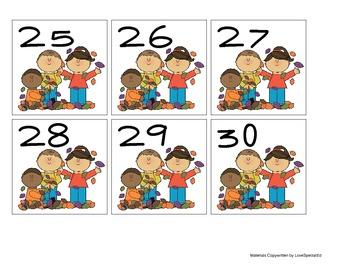 Fall Kids Calendar Numbers
