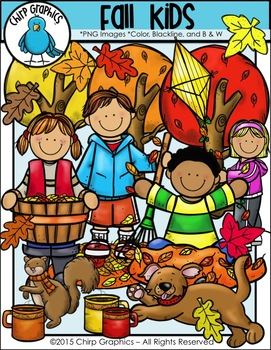 Fall Kids Clip Art Set - Chirp Graphics