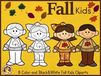 Fall Kids Cliparts- Toya's Studios