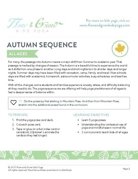 Kids Yoga Autumn Sequence Lesson Plan, Pose Card Deck and Journal
