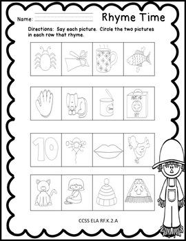 Fall Kindergarten ELA Activities ELA CCSS RF.K.1d, RF.K.2a, RF.K.3, L.K.1a