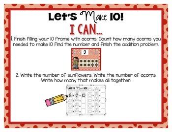 Fall Kindergarten Math Tub #5 {Let's Make 10}