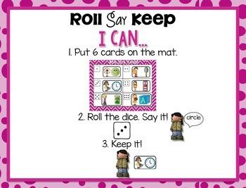Fall Kindergarten Math Tub #4 {Roll Say Keep 2D and 3D Shapes}