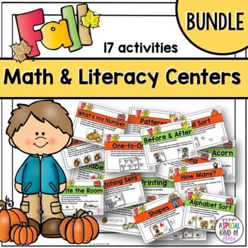 Fall Kindergarten Math and Literacy Work Station Activities (Bundle)