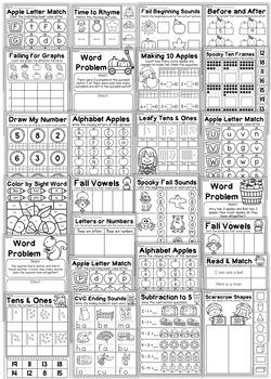 Fall Kindergarten Math and Literacy Worksheet Pack