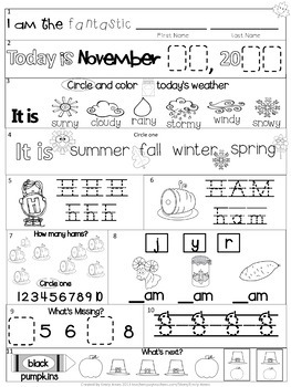 Moring Work Bundle: Kindergarten Fall Packets (September October November)