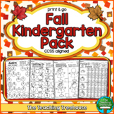Fall Kindergarten Pack, No Prep, CCSS Aligned