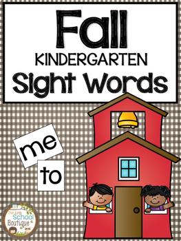 Fall Kindergarten Sight Words