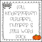 Fall Kindergarten Alphabet, Numbers and Sight Words Pack