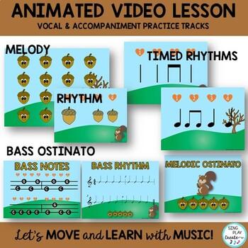 "Fall Music Lesson ""Five Little Acorns"" Game Song, Videos, Solfege, Rhythm"
