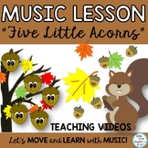 """Fall Music Lesson: """"Five Little Acorns"""" Game Song, Solfege, Rhythm, Video"""