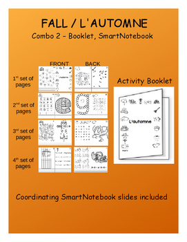 Fall / L'automne - FRENCH Combo - Activity Booklet & coordinating SmartNotebook
