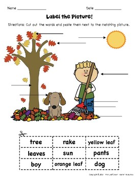 Fall Label a Picture! - Great for ESL/ENL, Pre-K, Kindergarten & Special Needs