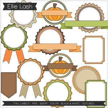 Fall Labels Digital Clipart