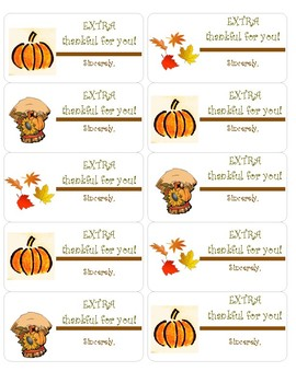 Fall Labels for Thank You Gifts of EXTRA Gum!