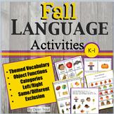 Autumn Theme Speech and Language Activities Packet