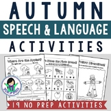 Fall Speech and Language Activities - NO PREP!