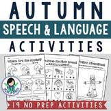 Fall Speech and Language Activities - NO PREP!