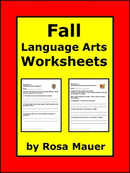 Fall Language Arts Worksheets
