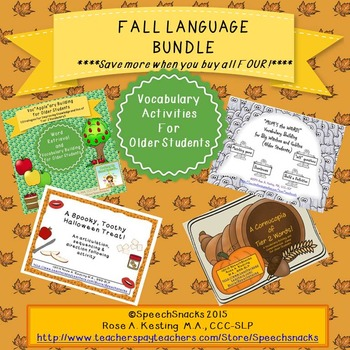 Fall Language Bundle {Vocabulary Activities for Older Students}