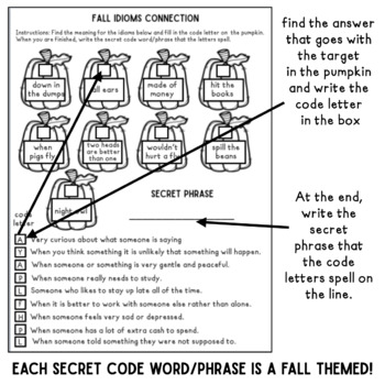 Fall Language Connections! Find the Secret Phrase