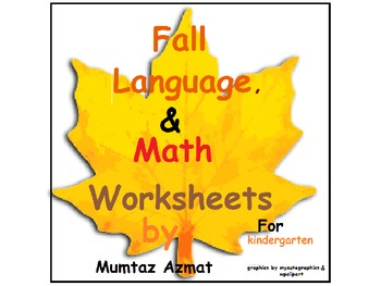 Fall Language&Math Worksheets for Kindergarten: