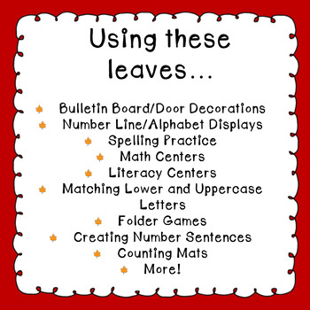 Fall Leaf Alphabet & Number Cards