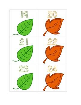 Fall Leaf Calendar Numbers in AB Pattern