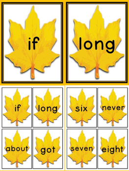 Fall Leaf Dolch Pre-Primer - 3rd Grade Sight Word Flashcards and Posters
