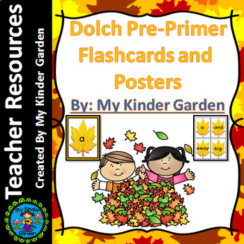 Fall Leaf Dolch Pre-Primer Sight Word Flashcards and Posters