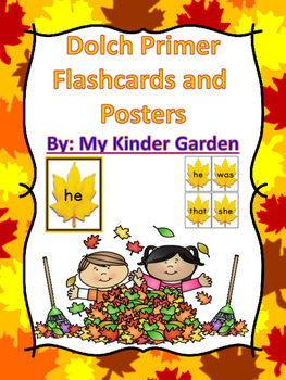 Fall Leaf Dolch Primer Sight Word Flashcards and Posters