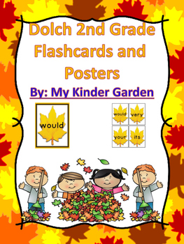 Fall Leaf Dolch Second Grade Sight Word Flashcards and Posters