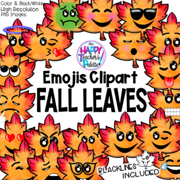 HTP Clip Art Fall Leaf Emojis Watercolor {The Happy Teacher's Palette}