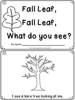 Fall Emergent Reader: Fall Leaf, Fall Leaf, What Do You See?+ Pocket Chart Cards