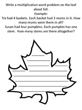 Fall Leaf Multiplication Activity - Great for Bulletin Board