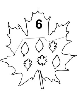 Fall Leaf Number Identification Puzzles 1-20 B/W