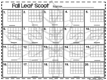 Fall Leaf Number Scoot
