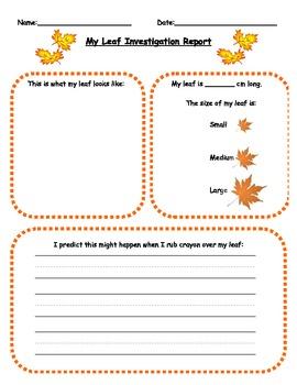 Fall Leaf Rubbing Activity