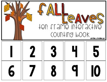 Fall Leaves 10 Frame Counting Interactive Book