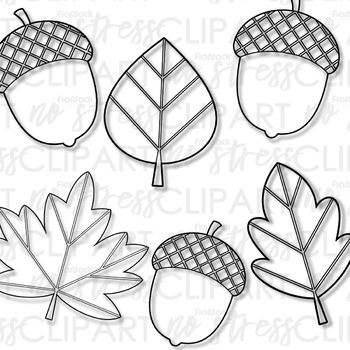 Fall Leaves Acorns Clip Art (Digital Use Ok!)