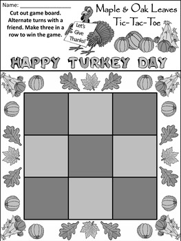 Fall Leaves Activities: Maple & Oak Leaves Fall-Thanksgiving Tic-Tac-Toe Game