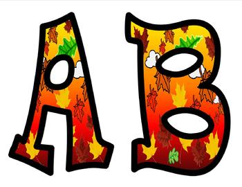 Fall Leaves Alphabet Bulletin Board Letters