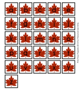 Fall Leaves Alphabet Matching Activity