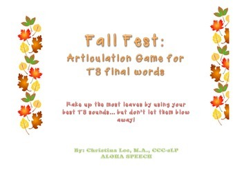 Fall Leaves Articulation Game to Remediate Lateral S