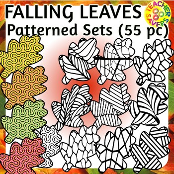 Fall Leaves Autumn Coloring Clip Art Set Commercial and Personal Use