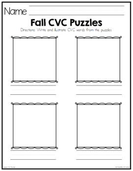 Fall Leaves CVC Puzzles
